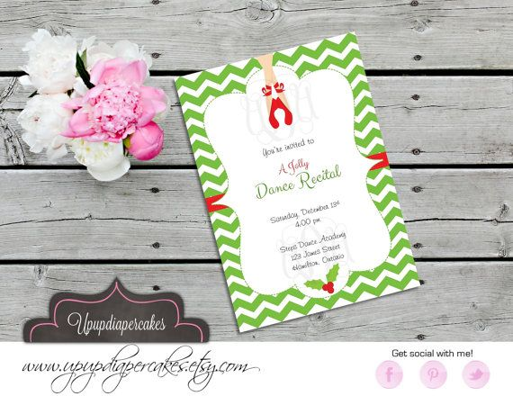 Holiday Dance Recital Invitation--Ballerina Feet Invite--Holiday Performance--Printable Invite
