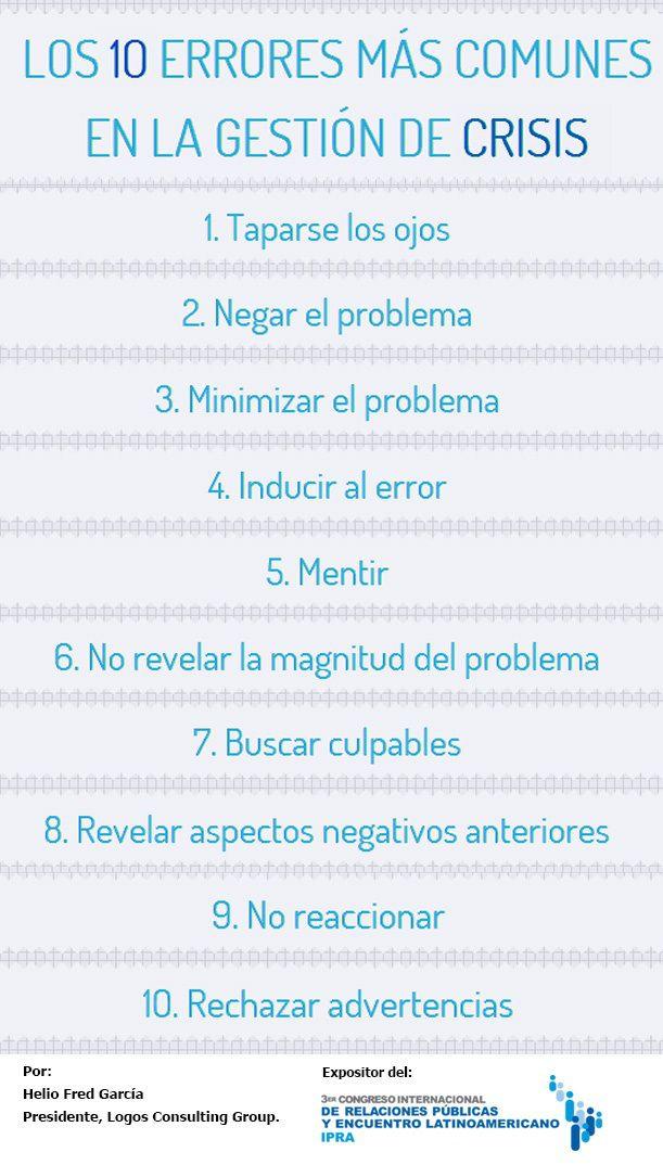 #Infografia #CommunityManager 10 errores más comunes en gestión de crisis. #TAVnews