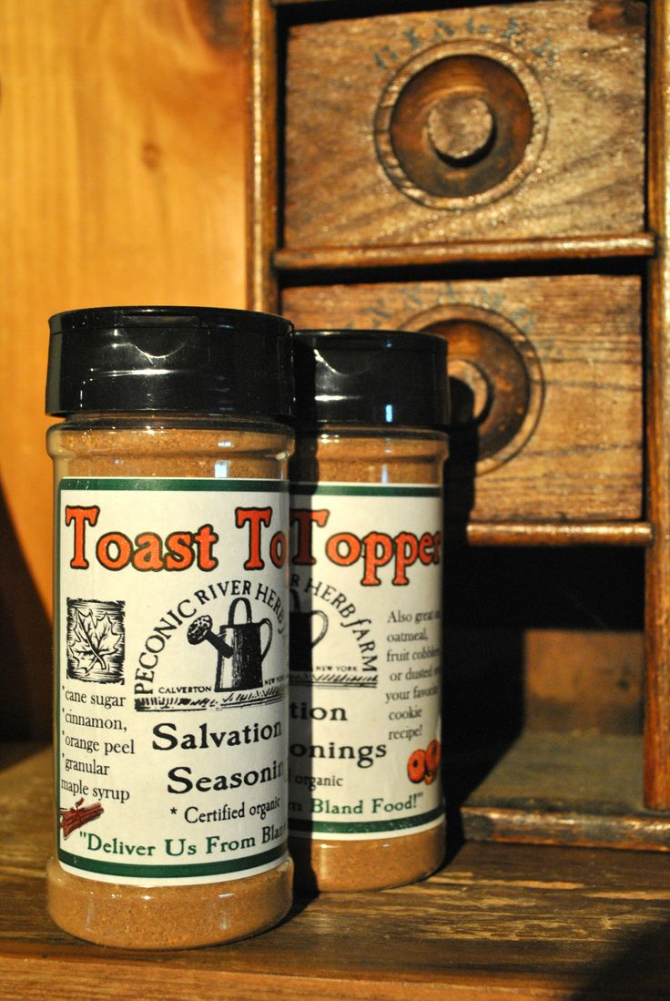 Toast Topper - Not just for toast, but great on oatmeal, hot drinks, popcorn, fruit cobblers, or dusted over your favorite sugar cookie or poundcake recipe! $8.95 Find it in the Outside In garden shop at the Peconic River Herb Farm!