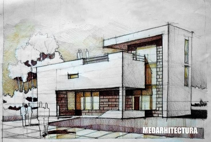 Modernist House. Two white concrete pieces are held together by a brick core with several large windows. Pencil + Colored Crayons on 50x35 Standard Paper, 3 Hours Completion Time #architecture #architect #rendering