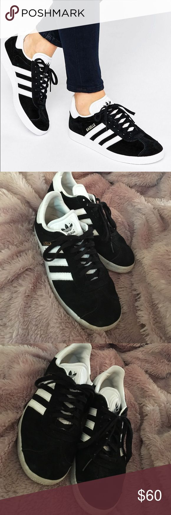 Adidas Black Gazelle Bottoms of shoe and whites of shoes are dirtied up adidas Shoes