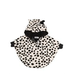 RYKIEL ENFANT - HOODED COTTON BLEND CHENILLE PONCHO     Non detachable hood with ears. Snap button collar closure. Elastic cuffs. Satin lining. Size I = 3/6 months. Size II = 12/18 months