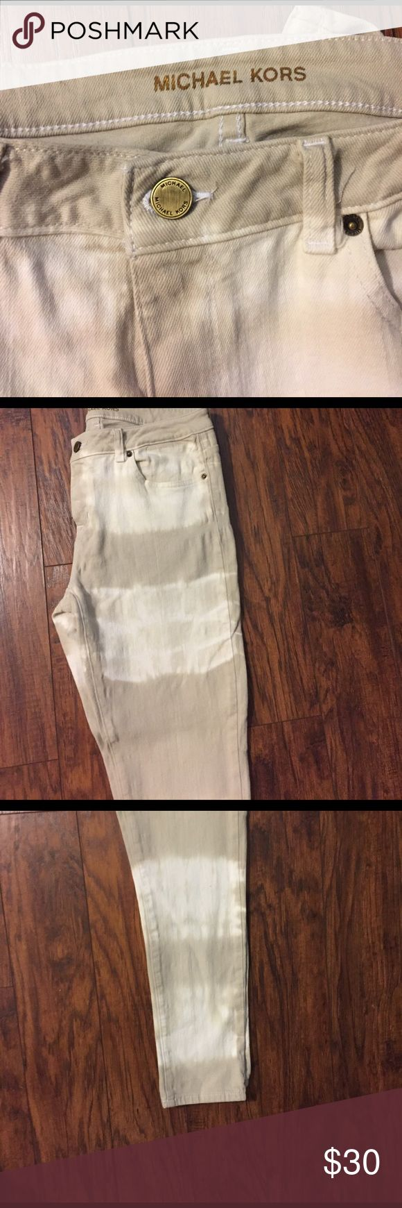 michael kors tie dye acid wash stripe skinny jeans michael kors tie dye acid wash stripe skinny jeans, cream and tan colors. size 6 Michael Kors Jeans Skinny