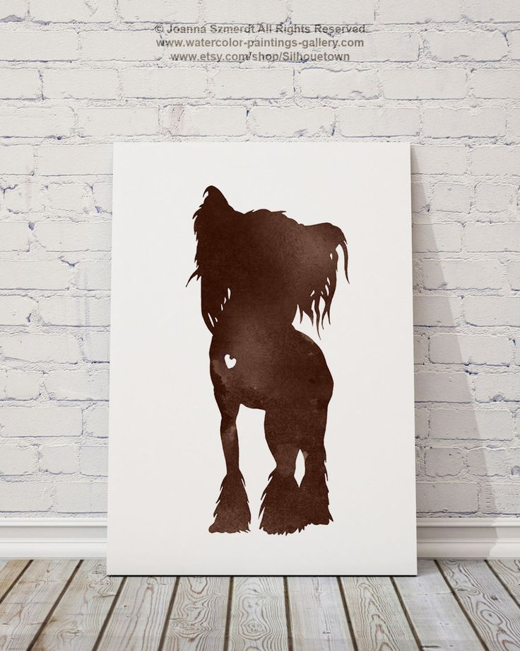 Chinese Crested Watercolor Art Brown Dog Painting Best Gift Ideas by Silhouetown on Etsy