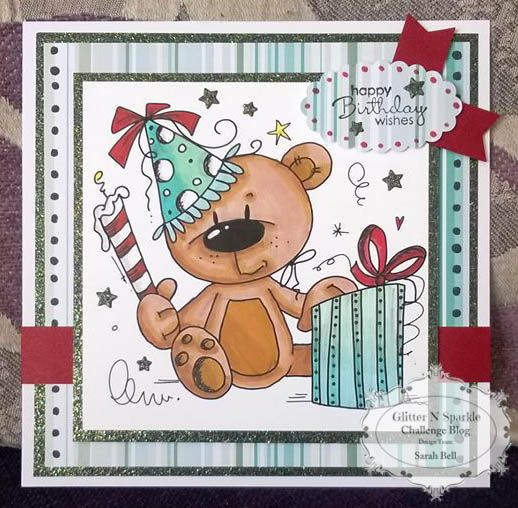 Glitter 'N' Sparkle Happy Birthday Challenge DT Card by Sarah Bell using Bugaboo Digi Stamp