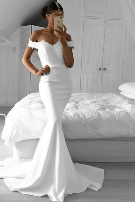 White Elegant Mermaid Off-the-Shoulder Lace Prom Dresses