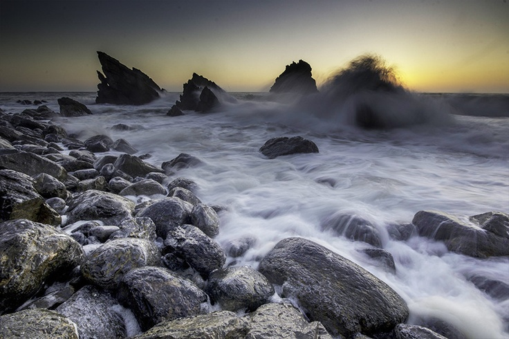 Praia da Adraga is a North Atlantic beach in Portugal, near to the town of Almoçageme, Sintra.  The waves there can be quite unpredictable and fierce.