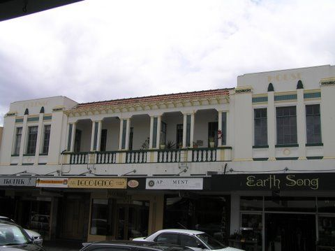 Colenso House, Emerson Street, Napier. Built 1932. Architect: EA Williams. Previously the County Private Hotel. Spanish Mission Style.