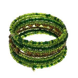 Bijoux faits main - Bracelets verts et marrons en perles: ShalinCraft: Amazon.fr: Bijoux