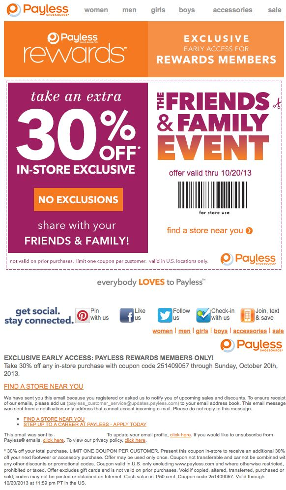 photograph about Payless Shoes Printable Coupon known as Payless 30 off coupon november 2018 - Coupon code for pogo