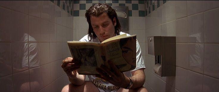 Pulp Fiction (Quentin Tarantino) Eerder in de film zagen we hoe dit personage sterft: nadat hij dit boek aan het lezen was op het toilet wordt hij doodgeschoten. Terwijl dit beeld plaatsvindt is pleegt het koppel een overval in deze zaak. Het is een groot contrast, de stilte en sereniteit op het toilet, en de chaos in het restaurant.