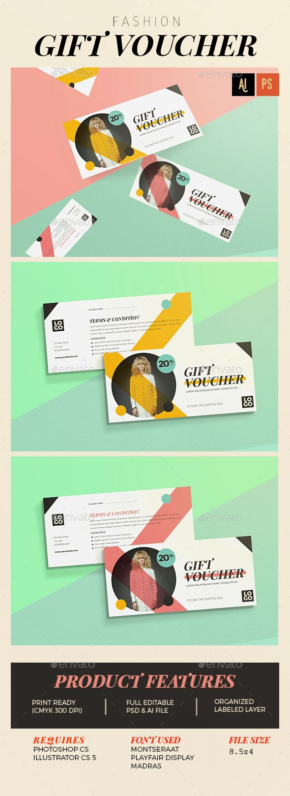 Fashion Gift Voucher Template PSD, Vector AI #design Download: http://graphicriver.net/item/fashion-gift-voucher/14204621?ref=ksioks