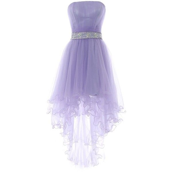 YiYaDawn Women's High-low Homecoming Dress Short Evening Gown ($89) ❤ liked on Polyvore featuring dresses, gowns, high low gown, high low homecoming dresses, short front long back dress, purple ball gown and purple evening gown
