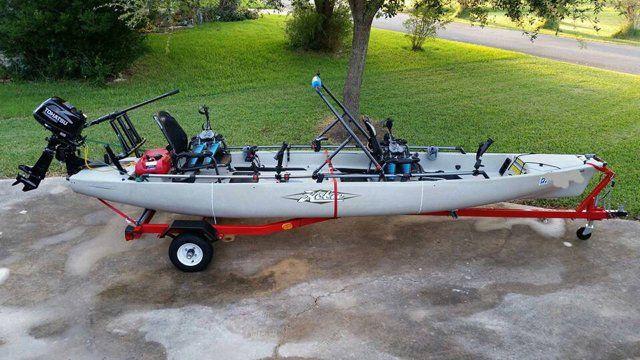 Small kayak motor, Tohatsu motor mounted to the back
