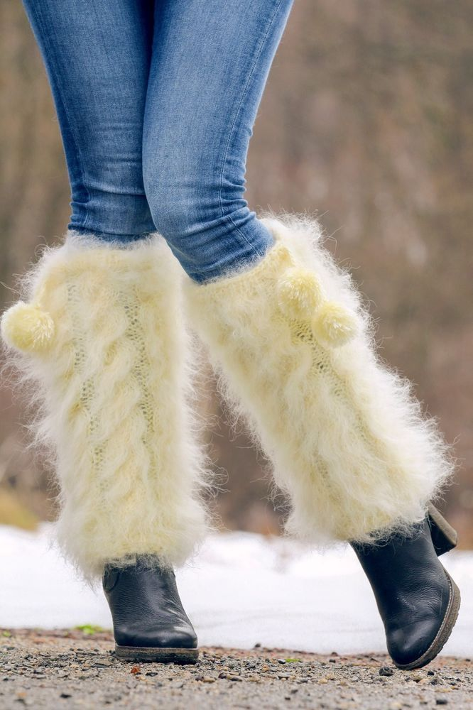 Hand knitted mohair spats fuzzy cable knit gaiters SUPERTANYA IVORY leg warmers #SuperTanya #Casual