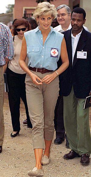 1997.....She visited patients at an Angola hospital wearing a sleeveless chambray shirt and trim chinos.