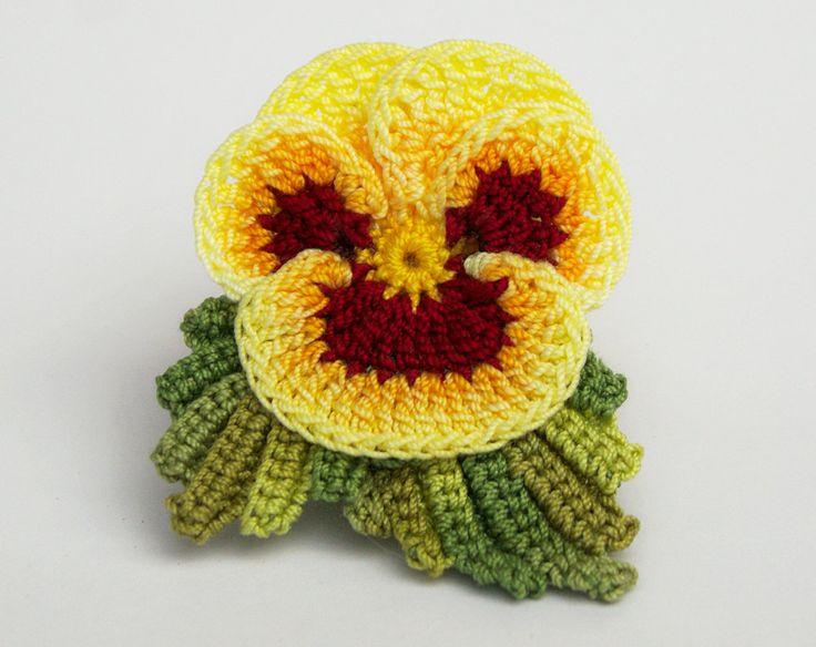 Mão Tingido Fio de Crochê Amor-Perfeito Realista Violeta Projeto -  /   Hand dyed Crochet Hooks tThread Realistic Pansy Viola Design -