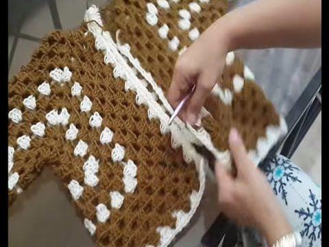 Passo a passo Casaquinho em Crochê hexágono Fofura - YouTube