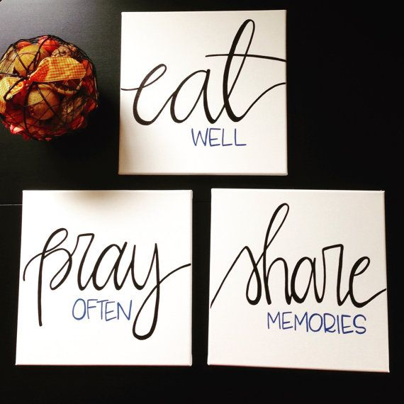 Eat Pray Share Canvas Set Dining Room Decor Wall Art by PupocoARTS