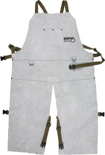 MCR Safety 38236MW 24 by 36-Inch Memphis Split Cow Leather Welding Bib Apron with Split Leg and Front Pocket, Gray MCR Safety