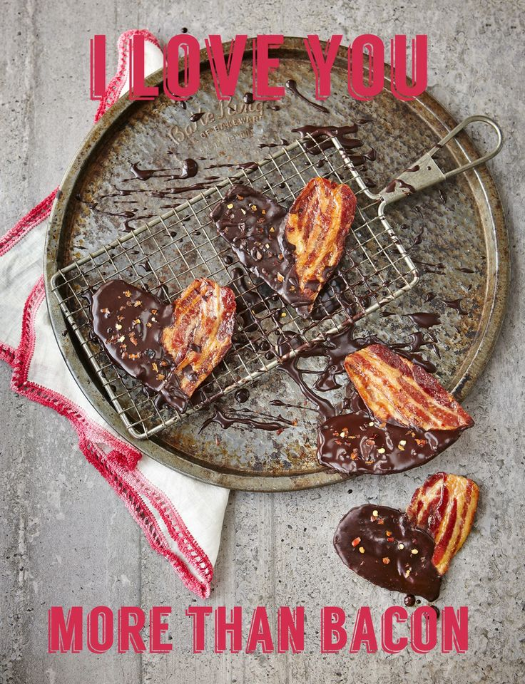Chocolate dipped bacon hearts with chill flakes.#baconhearts #valentines # baconlover #iloveyou