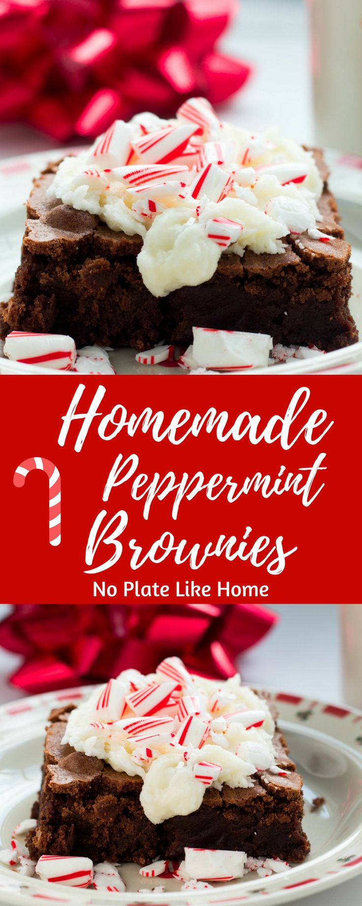 Festive Homemade Peppermint Brownies are easy-to-make using cocoa powder. The Peppermint Buttercream frosting with candy cane topping is a delicious combination of flavors for peppermint lovers who love chocolate brownies. These brownies are irresistible! Get your peppermint on this holiday season! Pin for later! #yummy #delicious #dessert #brownies #foodie