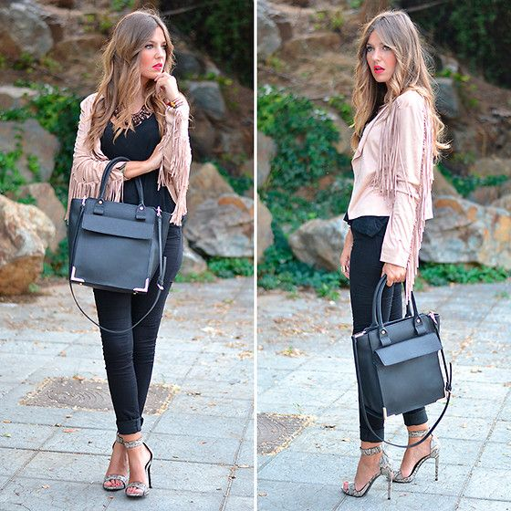 Choies Jacket, Stradivarius Jeans, Mango Sandals, Zara Handbag