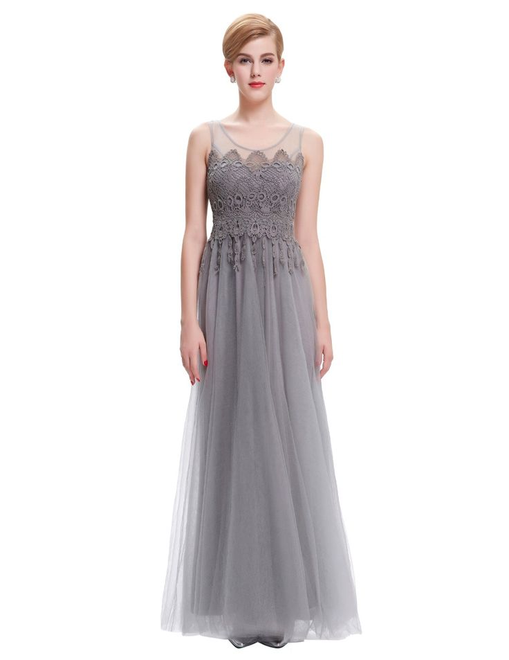 Gray-Tulle-Casual-Long-Party-Dress-