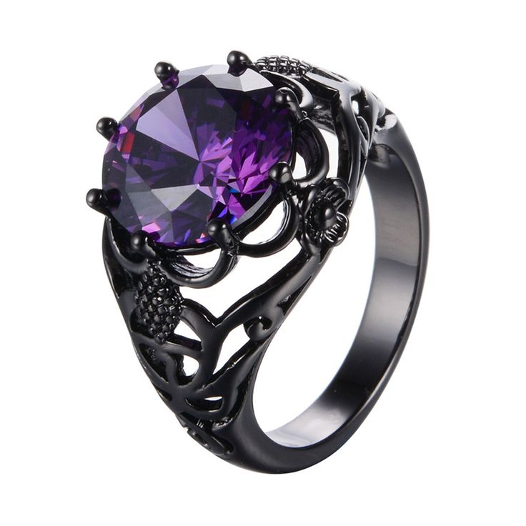 High Quality Purple Round  Zircon Rings For Women Lady Black Gold Filled Fashion Jewelry Wedding Party Finger Ring RB0571