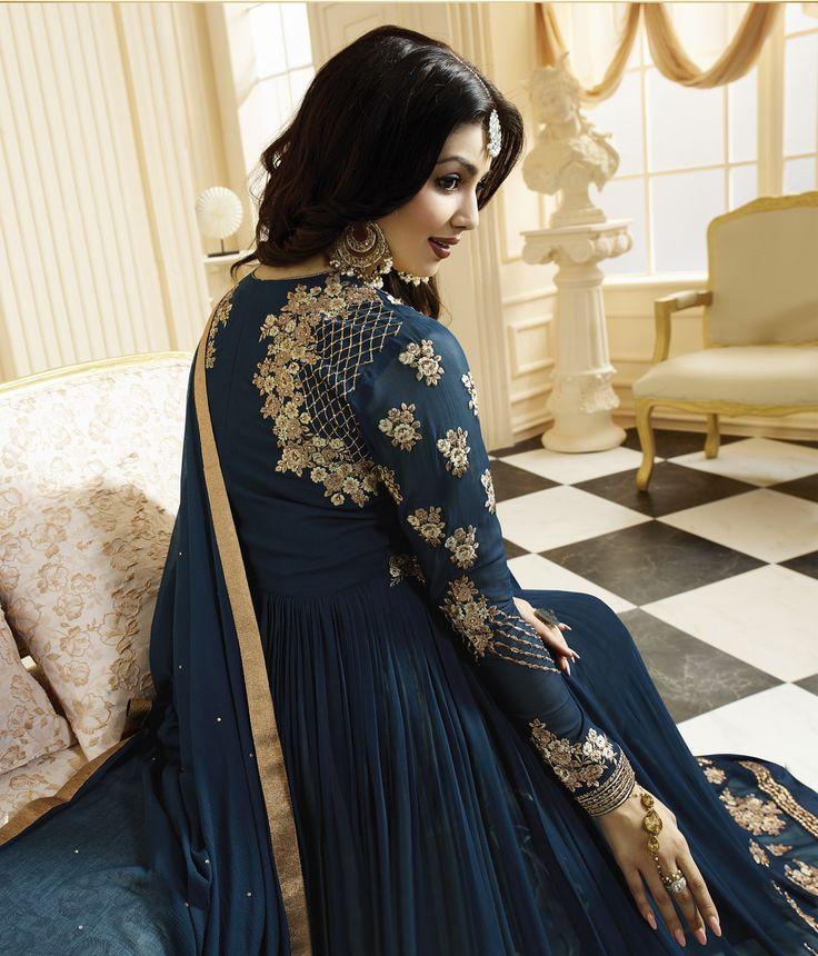#Blue #Golden #Embroided #Anarkali #Suit #Wedding