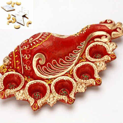 Ganesh Shankh Diya Tray - Online Shopping for Diyas and Lights by Ghasitaram Gifts