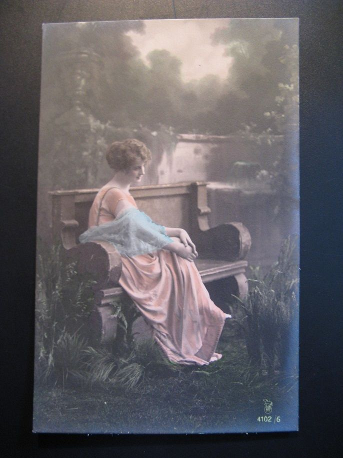 6 x Antique Color-Postcards, Young Woman -on a bench in the park - with flowers
