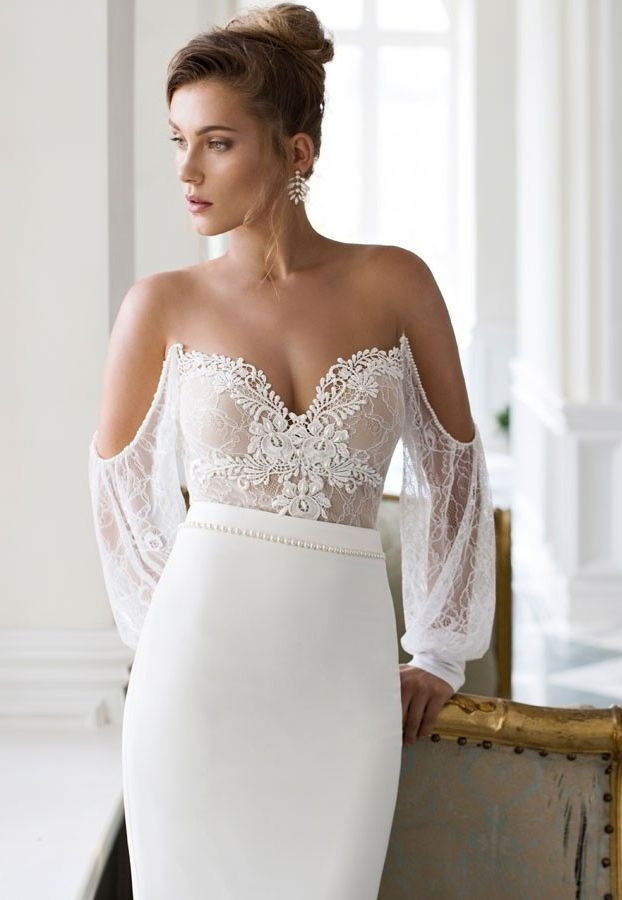 151 best images about vestido on pinterest wedding for Sleek wedding dresses with sleeves