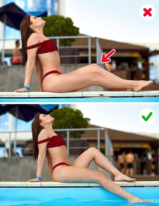 """# 12. Pierna doble Incorrecto. Las piernas están en la misma línea, creando un efecto de una pierna """"ancha"""" y estropeando una imagen hermosa. Correcto. Una pierna está por encima de la otra. Ambas piernas se ven fácilmente, no se funden, y se ven con gracia."""