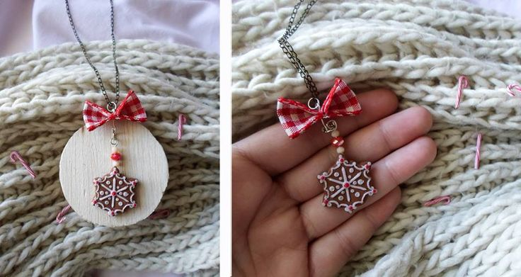 Christmas miniature snowflake cookie necklace |  polymer clay cute food sweet jewelry   find it here: https://www.facebook.com/AA-Jewellery-hand-made-297747360352236/