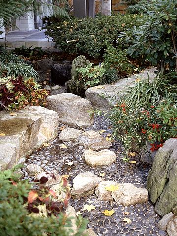 17 best images about dry creek beds on pinterest gardens for Smooth landscaping rocks