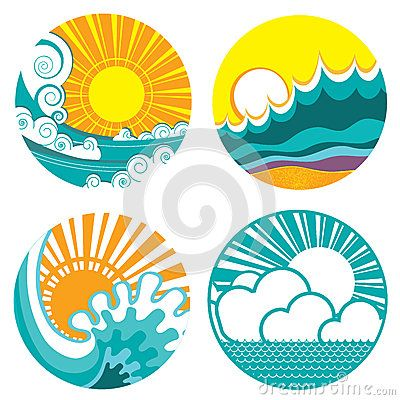 Sun and sea waves. Vector icons of illustration o