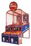 "ICE - NBA Hoops Arcade Basketball GameAttention basketball fanatics! We have scored a slam dunk with the NBA by getting the official NBA license for our new style basketball game.The extremely popular hoop fever basketball game has been recently designed with an all metal and adjustable front cabinet, hardwood floor, NBA sized hoop to accomodate a 9"" basketball for greater win ratio and polycarbonate backboard for more realistic scoring and durabilty. When it has the NB"