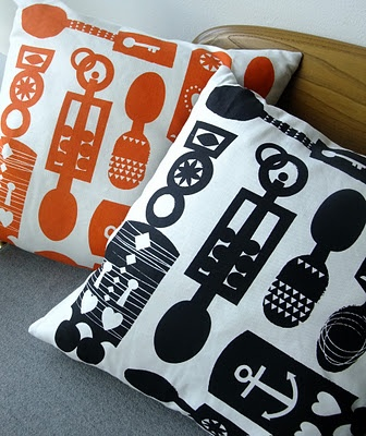 welsh wooden lovespoon printed cushion