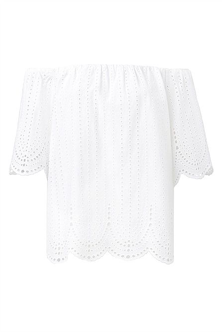 Broderie Open Shoulder Blouse