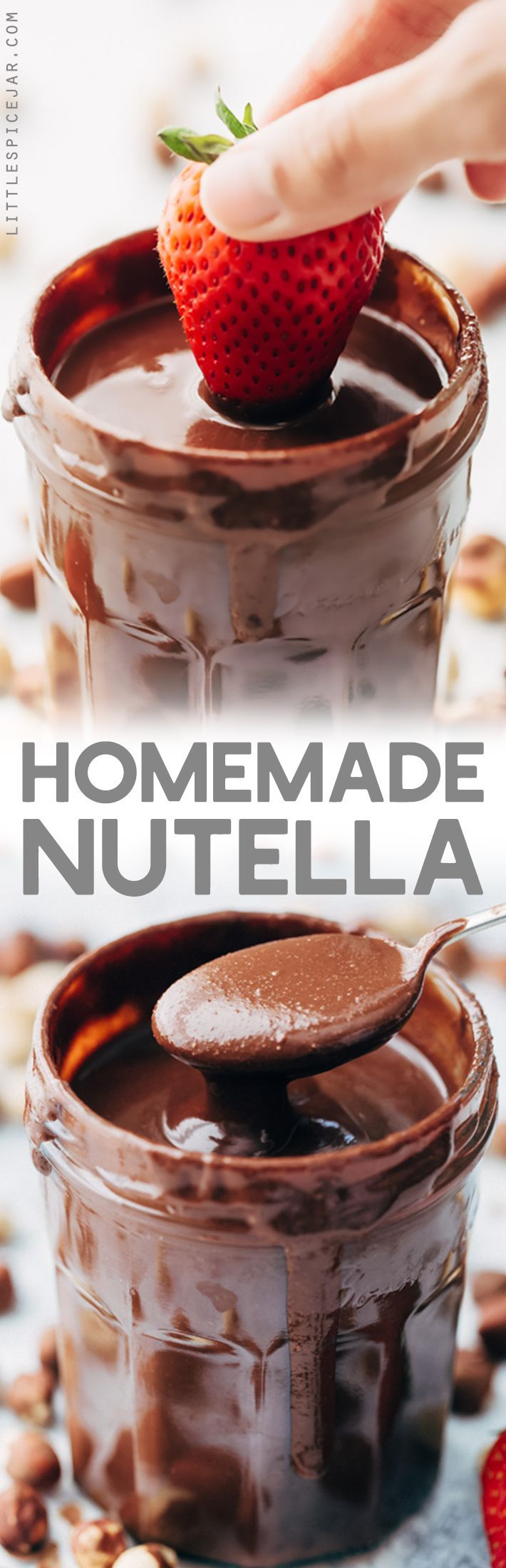 Simple Homemade Nutella - Learn how to make homemade nutella with just 7 simple ingredients! This stuff tastes so much more like hazelnuts than the store bought Nutella! #nutella #hazelnutspread #chocolatehazelnutspread   Littlespicejar.com