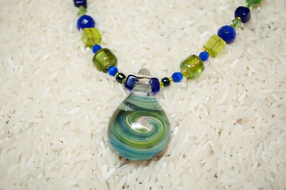 Blue and Green beaded Handmade Necklace