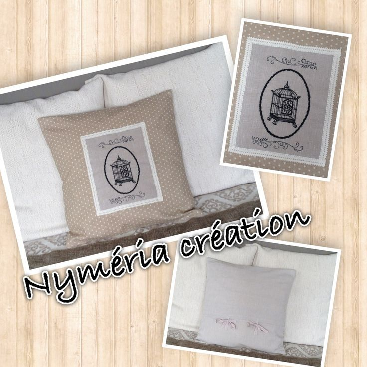 Housse de coussin en lin beige à pois rehaussée d'une broderie : Textiles et tapis par nymeria-creation