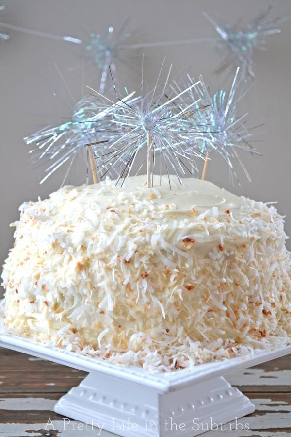 Coconut Dream Cake  |  Coconut Cake with Coconut Cream Cheese Icing...perfect for New Year's Eve!