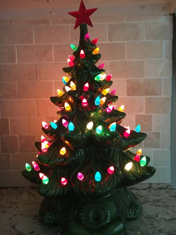 this beautiful hand painted ceramic christmas tree with multi colored lights and an ornate ceramic - Porcelain Christmas Tree With Lights