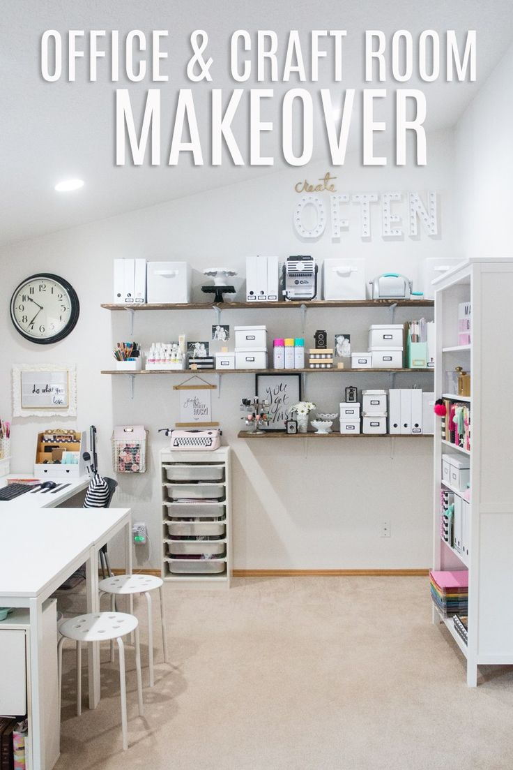 Office and Craft Room Makeover by @createoften for @heidiswapp  I really like the idea of having long shelves like this.