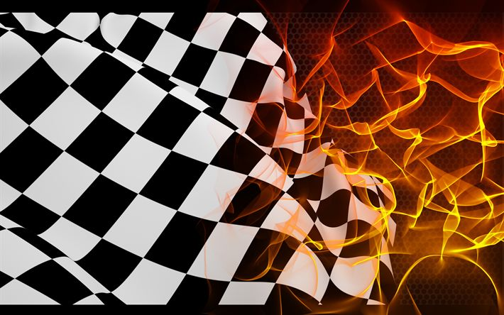 Download wallpapers checkered flag, finish, fire, flame