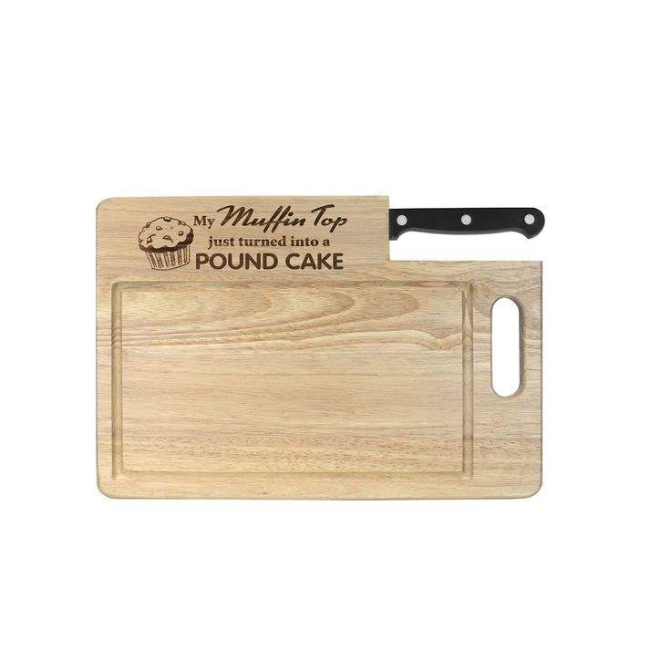 "Ginsu Custom Gift Collection ""Muffin Top/Pound Cake"" Engraved Cutting Board with Black Santoku Knife (2 Pc Cutting Board) (Stainless Steel)"