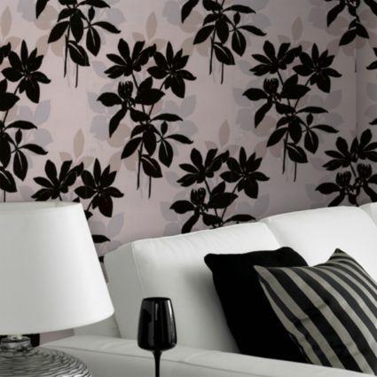 Laurence llewelyn bowen paste the wall undergrowth velvet black cream wallpaper departments - Cream flock wallpaper ...