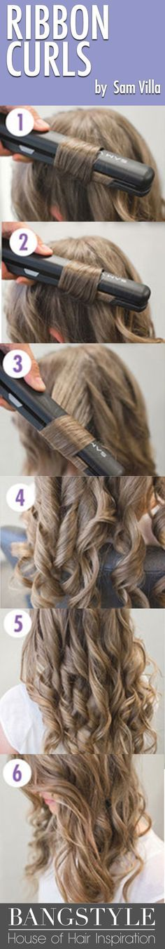 Will all of the hair tutorials out there that show you how to curl hair, we wanted to creat a video and assembled step by step photos showing you our top six ways for how to curl your hair with a curling iron as well as how to curl your hair with a flat iron. In this tutorial see how to create ribbon curls with your flat iron!